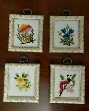 Bugs Flowers Pictures Wall Art Framed Embroidered Mid-Century Set of 4