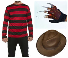 Mens Freddy Krueger Halloween Fancy Dress Costume Jumper, Hat And Glove