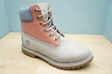 Timberland Womens Size 5 UK Premium 6 inch Grey Pink Ladies Leather Boots BNWB