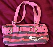 Roxy Pink Purse With Gray Stripes Small