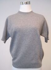 Womens VTG Ballantyne 100% Cashmere Sweater Short Sleeve Gray Scotland S 38