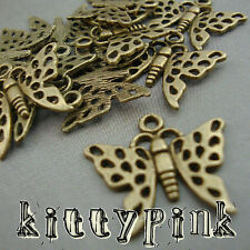 10 Antique Gold Plate Filigree Butterfly Charms Bronze