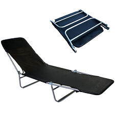 BLACK FOLDING SUN TAN BED LOUNGER COLLAPSIBLE LIGHTWEIGHT PORTABLE METAL FRAME