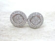 925 STERLING SILVER Micro Setting Cz 10mm Round Flat Studs Stud Earrings Gift