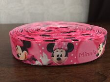 "1m Pink Minnie Mouse Bow Mickey 22mm 7/8"" Grosgrain Ribbon"