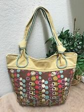 Fossil Long Live Vintage Brown Dots Canvas Tote Bag Shoulder Handbag Lg w/Studs