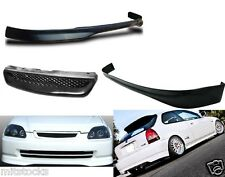 96-98 CIVIC HATCHBACK 3DR TYPE R PU BLACK ADD-ON FRONT + REAR BUMPER LIP + GRILL
