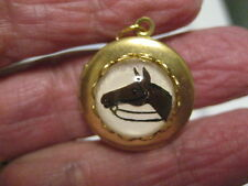 Bay HORSE HEAD reverse carved and painted vintage glass  intaglio LOCKET!
