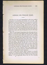 Admiral Sir William Edward Parry-Artic Explorer - 1869 Biographical Article