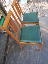 2 Vintage Leg-o-Matic Folding Chairs Wooden Folding Camper Airstream RV Antique