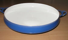 """Vintage Dansk France Enamelware 13 1/4"""" Lg Blue Paella Pan IHQ Jens Quistgaard"""
