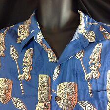 Eddy Y Tiki Reyn Spooner Blue Hawaiian Shirt XL Maori Mask Paddle Tongue Out