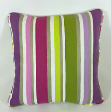 "Designers Guild Monticello Striped Raspberry Lime Purple Cushion Cover 16""x16"""