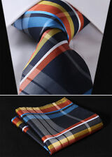 "TC441B8S Blue Orange Check 3.4"" Silk Woven Men Tie Necktie Handkerchief Set"