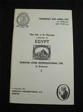 CHRISTIE'S ROBSON LOWE AUCTION CATALOGUE 1977 EGYPT 'COL J R DANSON' COLLECTION