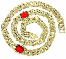 "32"" Iced Out Miami Cuban Link Red Ruby Simulate 15mm Chain HipHop Bling Necklace"