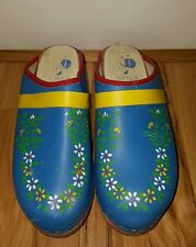 Gretel's Clogs Hand Painted Floral Flowers Turquoise Size 38 Made in Sweden VTG.