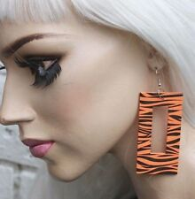 ZEBRA ORANGE WOODEN TRASHY PUNK PASTEL GOTH ALT CLUBWEAR HIPSTER PARTY EARRINGS
