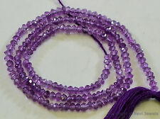 "Micro Faceted Amethyst 2.5-3mm Rondelle Gemstone Beads 13-13.5"" strand"