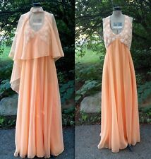 60s 70s Gilberts for Tally New York Dress Vintage Peach Wedding Lace Vtg