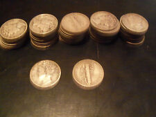 1 Roll 90% Silver Mercury Dimes -$5 Face Value - 50 Coins