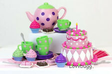 """Party Tea Set 25 pcs Mini Doll Food for 18"""" American Girl Doll Accessory"""