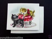 Vintage Unused Blank Greeting Note Cards Sweet Pair of Kittens on PInk Footstool