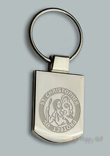 Engraved ST CHRISTOPHER Travelers Prayer or your text Personalised Keyring Boxed