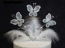 Handmade White and silver wire butterfly  and feathers cake topper
