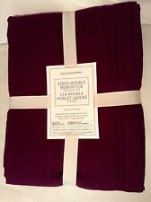 Williams Sonoma Linen Double Hemstitch Tablecloth 70x90 Garnet Wine