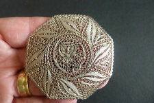 ANTIQUE JEWELLERY VICTORIAN SOLID SILVER FILIGREE LARGE BROOCH