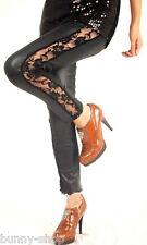 Schwarze Leder Look LEGGINGS Legging mit seitlicher Spitze in Größe ca. 34-36