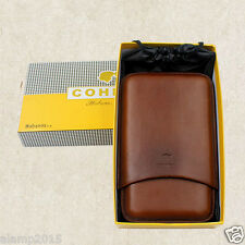 COHIBA Brown Leather 4 Tube Cigar Travel Case Holder Humidor With Gift Box