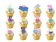 24 Peppa pig & friends Birthday Party edible stand up cup cake muffin toppers