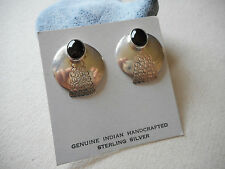Sterling Silver Oval Black Onyx Post Earrings Signed GB RE2908
