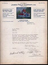 1924 Window Awnings -- James Field  Rochester Vintage Color Letterhead Rare