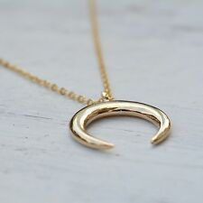 """Double Horn Necklace Pendant Crescent Moon Gold Trend Hot Style 17"""""""