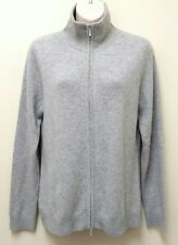 Womens LL Bean 100% Cashmere Cardigan Sweater 2-way zip Gray Size Small S EUC