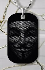 ANONYMOUS MASK DOG TAG PENDANT NECKLACE FREE CHAIN -kdt6Z