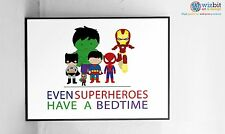 Even Superheroes Have a Bedtime - cute kids childrens bedroom Art / Poster