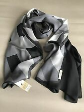 Burberry Ombre Check Scarf Lightweight 100% Silk / Mid Grey NWT!