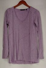 H by Halston Top XS Long Sleeve V-neck Knit Top with Purple NEW NWOT