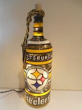 Pittsburgh Steelers inspired Wine Bottle Lamp Lighted Handpainted Stained Glass