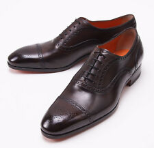NIB $990 SANTONI FATTE A MANO Brown Calf Captoe Shoes US 10.5 D Brogue Detail