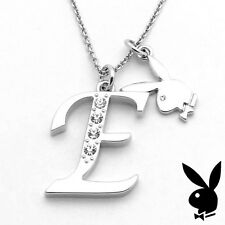Playboy Necklace Initial Letter E Pendant Bunny Charm Crystals Platinum Plated