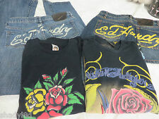 ED HARDY Christian Audigier 4 Pc LOT Skirt Jeans Tops Graphic Tattoo