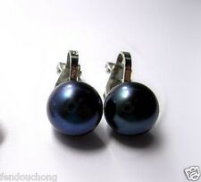 The beauty of the AAA + 9 -- 10 mm black south China sea pearl clip-on earrings