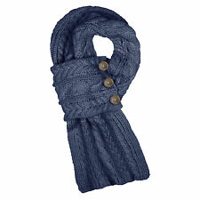 Aran Traditions Cable Wrap Button Navy Blue Winter Warm Scarf Fashion