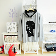 ❤Rhinestone Lace Sweatshirt❤Japan Japanese Korean Fashion blouse longsleeve S
