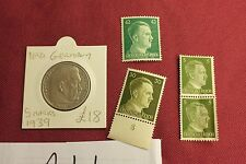 "WW2 German Third Reich ""Hitler Stamps"" & Nazi Eagle Coins..(lot A11)"